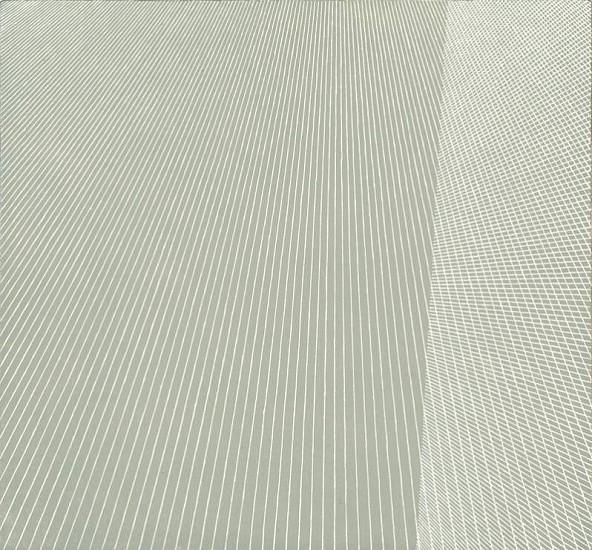 Sara Eichner, white lines over grey 2011, oil on linen over panel