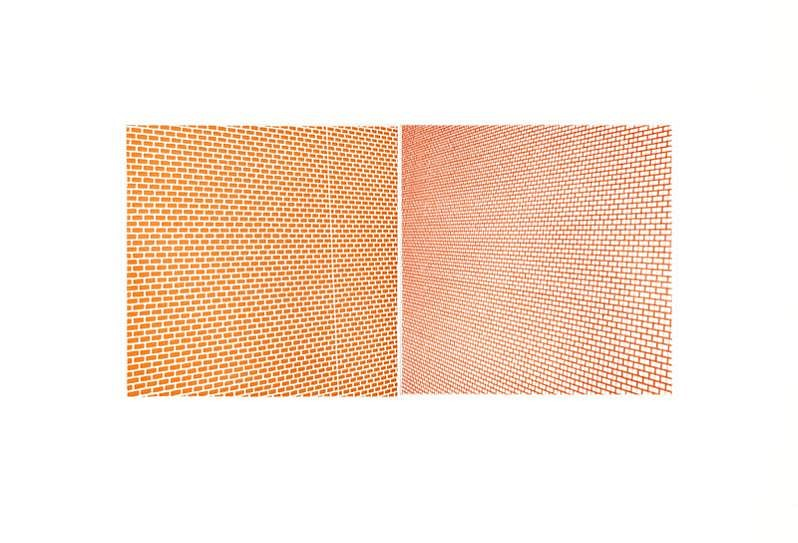Sara Eichner, moveable plate series: J & C, orange/red; 1/3 2010, copper plate etching