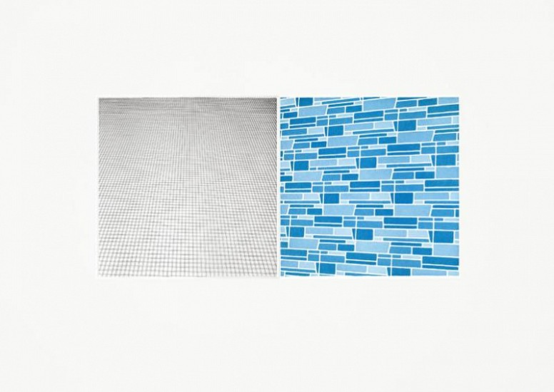 Sara Eichner, moveable plate series: A & G, grey/blue; 1/2 2010, copper plate etching