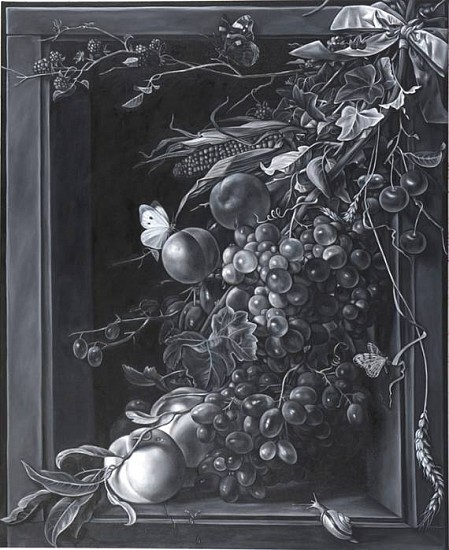 Shelley Reed, Ribboned Fruit (after Mignon) 2010, oil on canvas