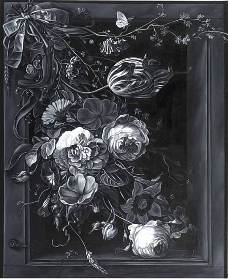 Shelley Reed, Ribboned Flowers (after Mignon) 2010, oil on canvas