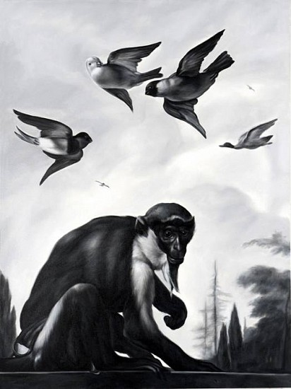 Shelley Reed, On the Wall, Monkey and Birds (after Hondecoeter) 2010, oil on canvas