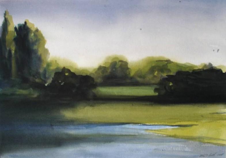 Peter Schroth (LA), Landscape Study 3 gouache and ink on paper
