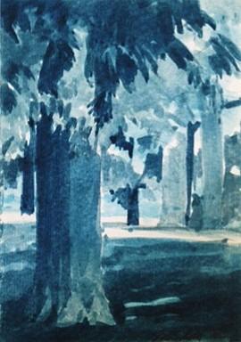 Peter Schroth (LA), Blue Landscape #13 2012, plein air wash drawing