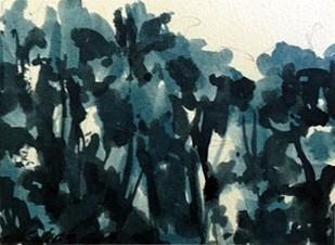 Peter Schroth (LA), Blue Landscape #12 2012, plein air wash drawing