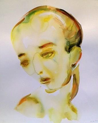 Kim McCarty (LA), Yellow Face 2013, watercolor on paper