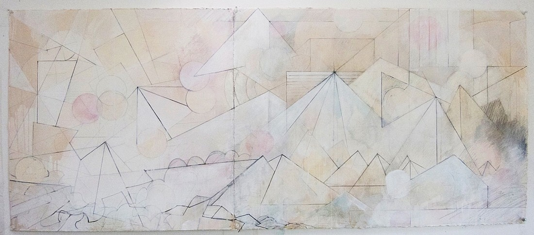 Celia Gerard   Lost at Sea , 2013  GER050   mixed media on paper, 27 x 57 inches framed