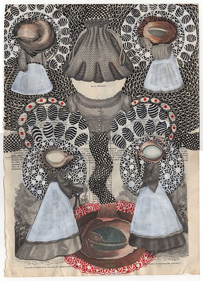 Roz Leibowitz (LA), The Watchers 2010, ink and collage on vintage catalog page
