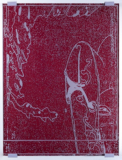 Eugene Brodsky (LA), Elbow 2011, oil on panel, silkscreen ink on plastic
