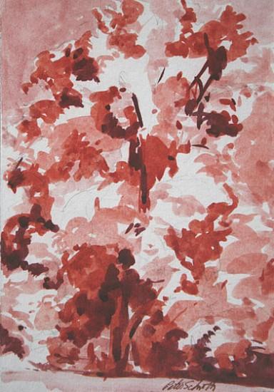 Peter Schroth, A Tree plein air wash drawing