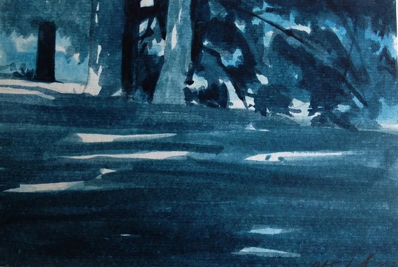Peter Schroth, Blue Landscape #10 plein air wash drawing