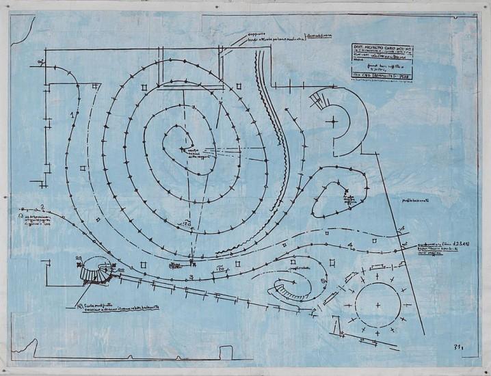 Eugene Brodsky, Mollino's Spiral 2014, ink on silk mounted on paper