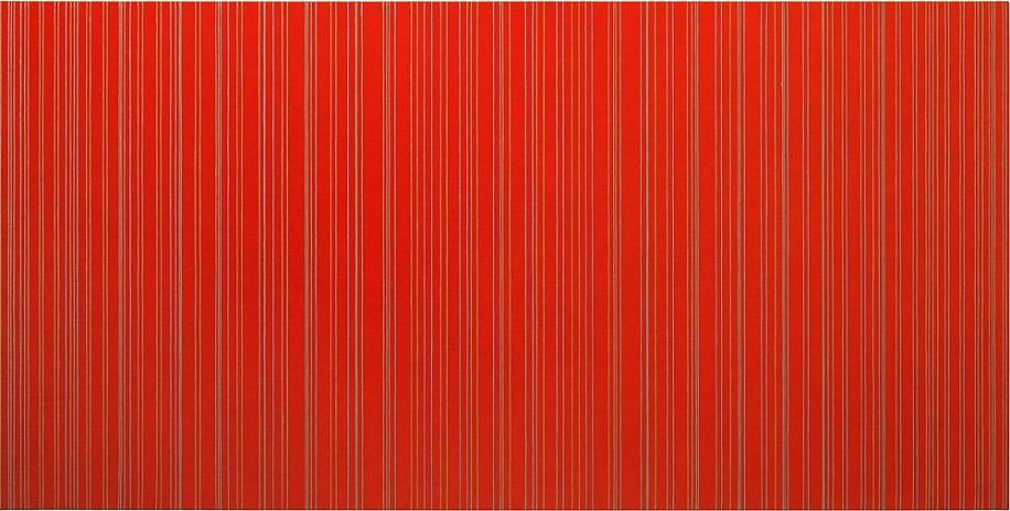 Sara Eichner, verticals on red receding in opposite directions 2015, oil on linen over panel