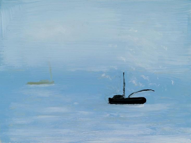 Kathryn Lynch (LA), Grey Boat on Blue Sea 2015, oil on board