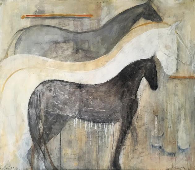 Jane Rosen, Cash Akhal Tekke 2015, casein, beeswax, charcoal, ink and coffee