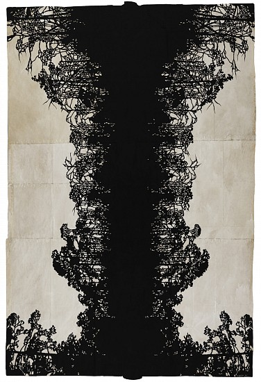 Maysey Craddock (LA), quiet in the dusk 2015, gouache and thread on found paper