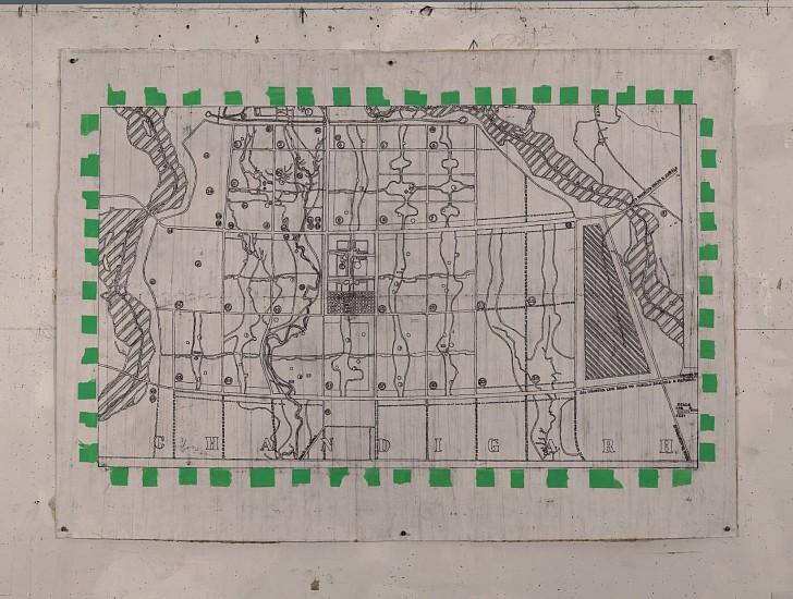 Eugene Brodsky (LA), Chandigarh 1 2015, ink on paper and silk