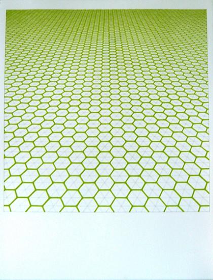 Sara Eichner (LA), green hexagon grid 2009, pencil and goauche on paper