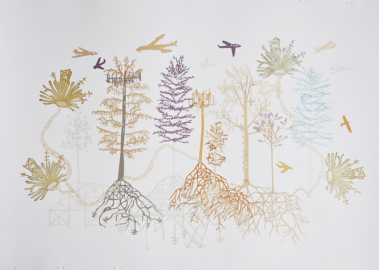 Susan Graham, Cell Phone Tree Landscape 1 2015, chine colle gampi paper cut out, dry point etching, and ukiyo-e woodblock print on cotton paper