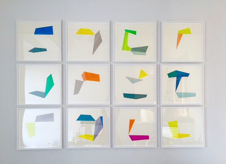 Agnes Barley, Untitled Collage (Deconstructed Waves) Installation 2016, acrylic on cut paper