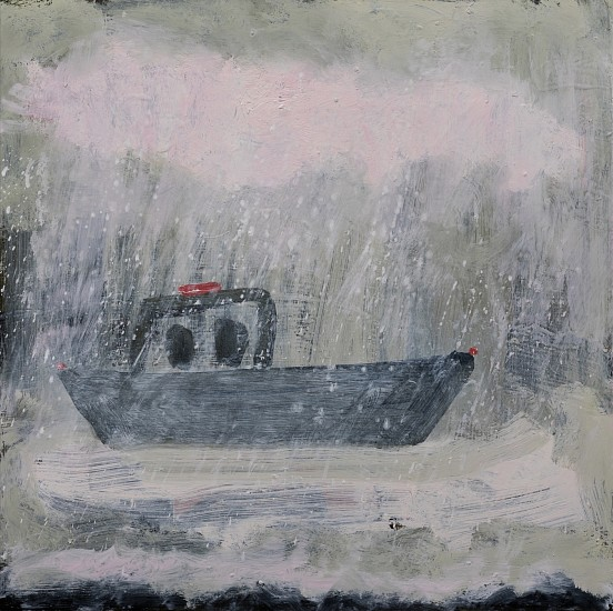 Kathryn Lynch, boat in bad weather 2017, oil on panel