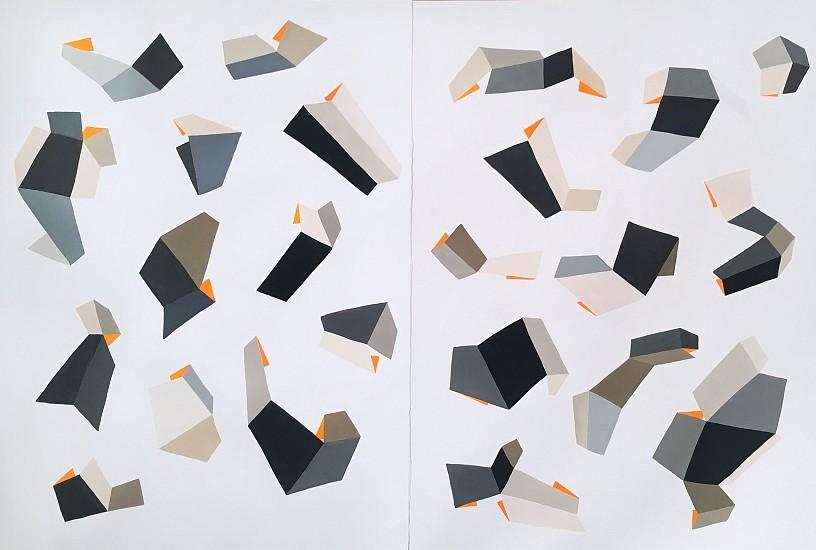 Jen Wink Hays, Diptych 2017, gouache on paper