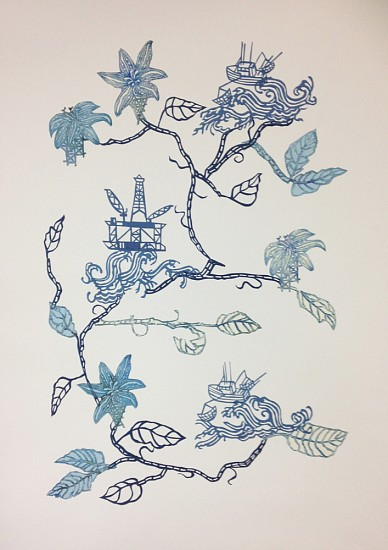 Susan Graham, Future Garden (Deep Blue) 2017, chine colle gampi cut out and woodblock on cotton paper