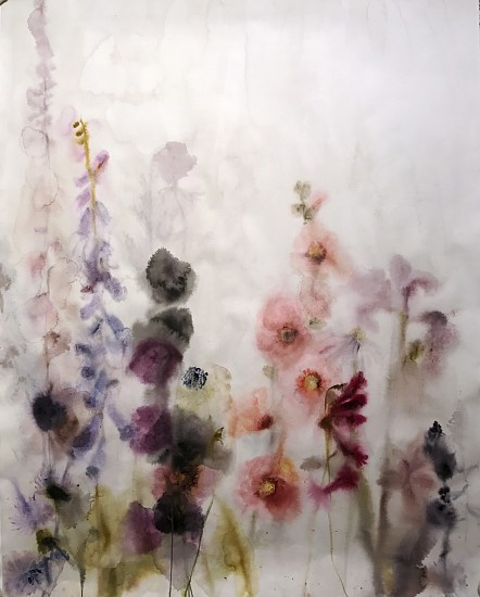 Lourdes Sanchez (Watercolor), Hollyhocks, Foxgloves 2017, watercolor on paper