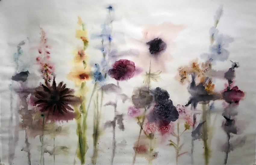 Lourdes Sanchez (Watercolor), Foxgloves, Dahlia, Carnations, Gladiolus, Hollyhock 2017, watercolor on paper