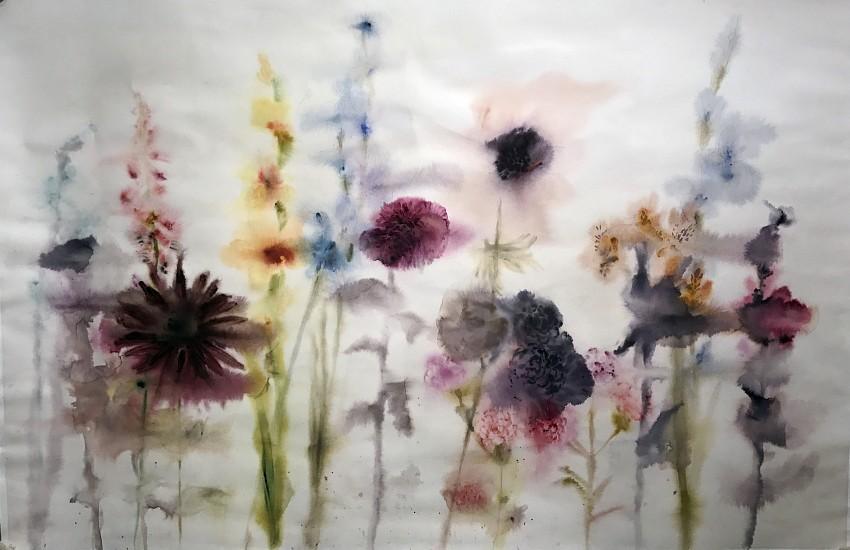 Lourdes Sanchez (Watercolor), Foxgloves, Dahlia, Carnations, Gladiolus, Hollyhock 2017, watercolor on paper