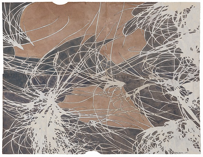Maysey Craddock, Tracery (sugar sands) 2017, gouache and thread on found paper