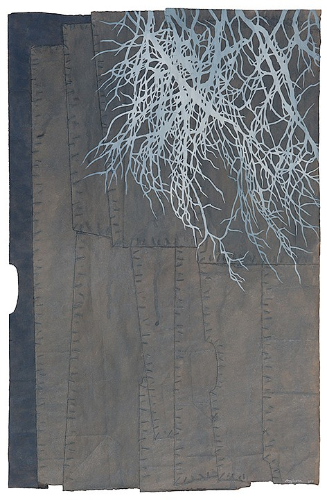 Maysey Craddock   following the grain , 2017  CRADD052   gouache and thread on found paper, 30 x 19.5 inches/34.5 x 24 inches framed   frame +$500