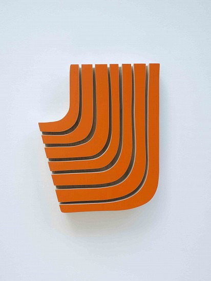 Andrew Zimmerman (LA), C.P. Cadmium Orange 2017, enamel and acrylic paint on wood