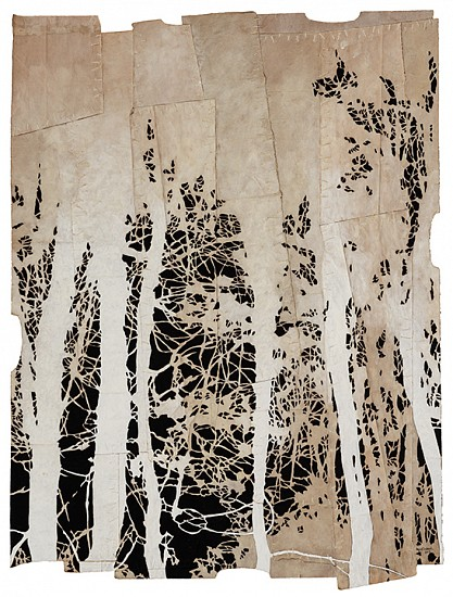 Maysey Craddock (LA), a whisper in the trees 2017, gouache and thread on found paper