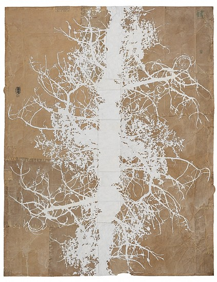 Maysey Craddock (LA), ghosted creek 2017, gouache and thread on found paper