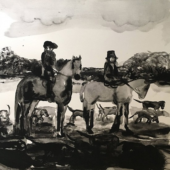 Suzy Spence, Untitled Hunt Scene 2017, flashe on paper mounted on panel