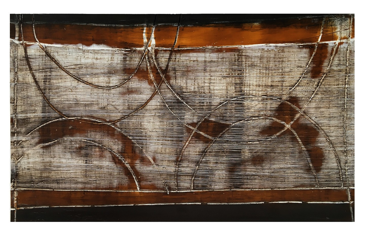 Don Maynard   Gates of Horn , 2018  MAY393   encaustic on paper, 22 x 30 inch paper / 12 x 20 inch image